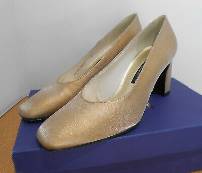 BNIB Stuart Weitzman @ Russell & Bromley Cana metallic gold court shoes...
