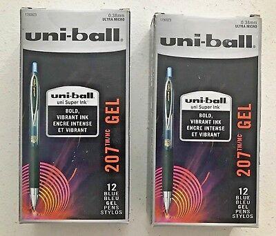 Uni-ball Signo 207 Pen 2 Dozen .38mm Ultra Microblue Ink 2-12oz Box Retractable