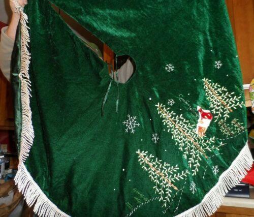 "green tree skirt ribbon trees, icey green fringe 21"" edge to center"