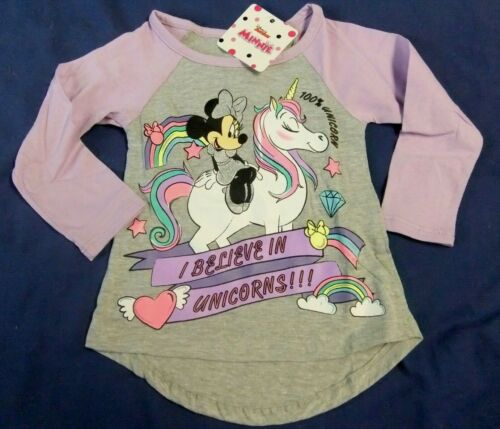 NWT Toddler Girl 2T, 3T, 4T, 5T MINNIE MOUSE Long Sleeve Tee Disney Unicorn
