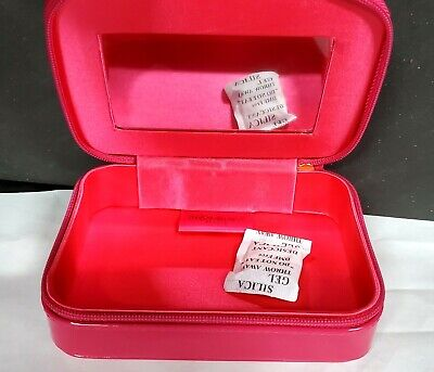 Small YSL Yves Saint Laurent mirror cosmetics makeup bag case HOT PINK GLOSSY