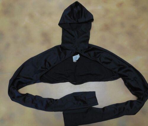 NWT Black Spandex Hooded Long Sleeve Pull Over Shrug Child/Adult Sizes