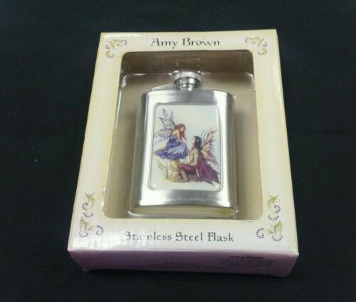 """Amy Brown """"ALWAYS"""" 3OZ Stainless Steel Flask Fairy Faery NEW IN BOX made in 2006"""