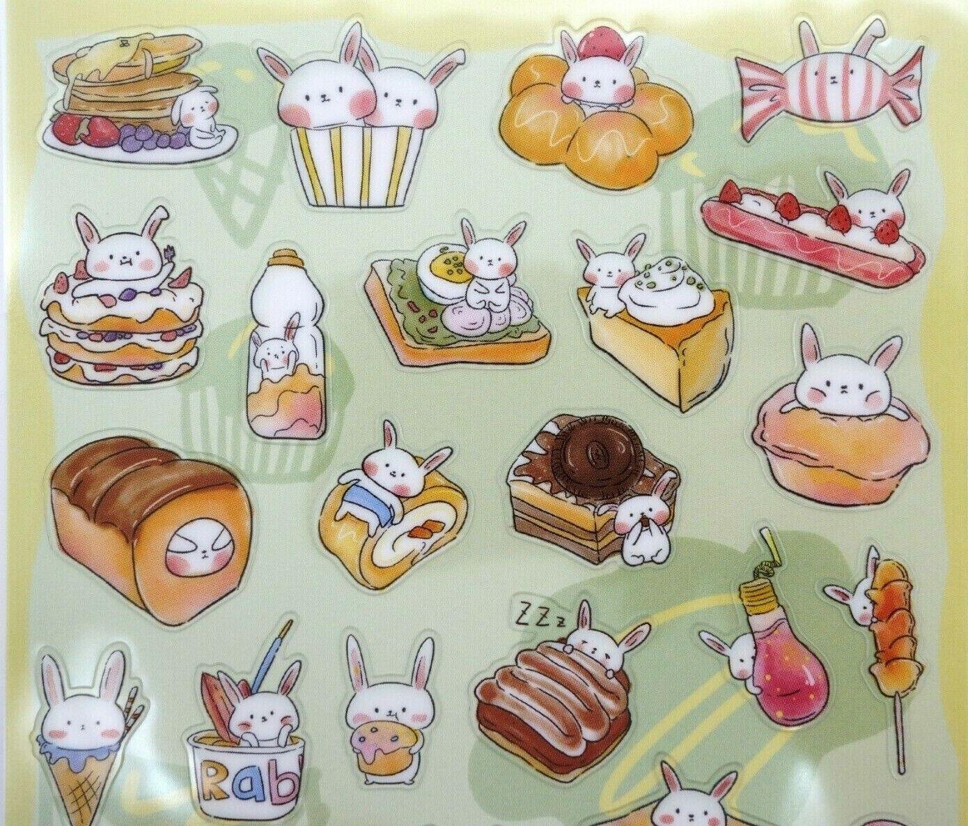Japanese bunny stickers! Kawaii rabbit food snack dessert cu