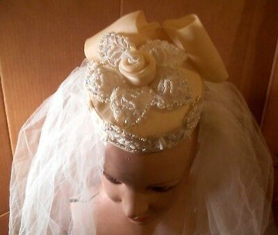 Vintage Ivory floral beaded wedding bridal head piece/Juliet cap & veil