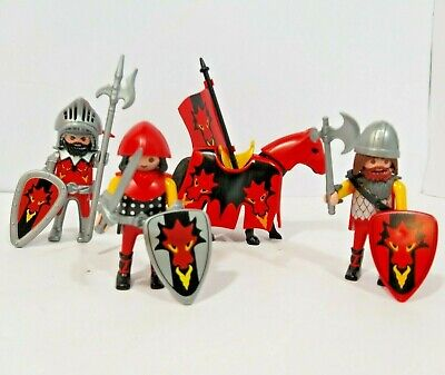 Playmobil Dragon Knights - 3 X Knights + Horse + Acessories - Castle Add on