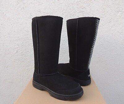 UGG BLACK ULTIMATE TALL BRAID SUEDE/ SHEEPSKIN BOOTS, WOMEN US 11/ EUR 42 ~NIB for sale  Ventura