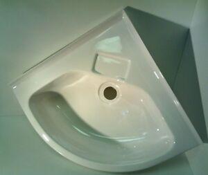 Caravan Motorhome Boat Bathroom White Plastic Corner Vanity Sink SN10