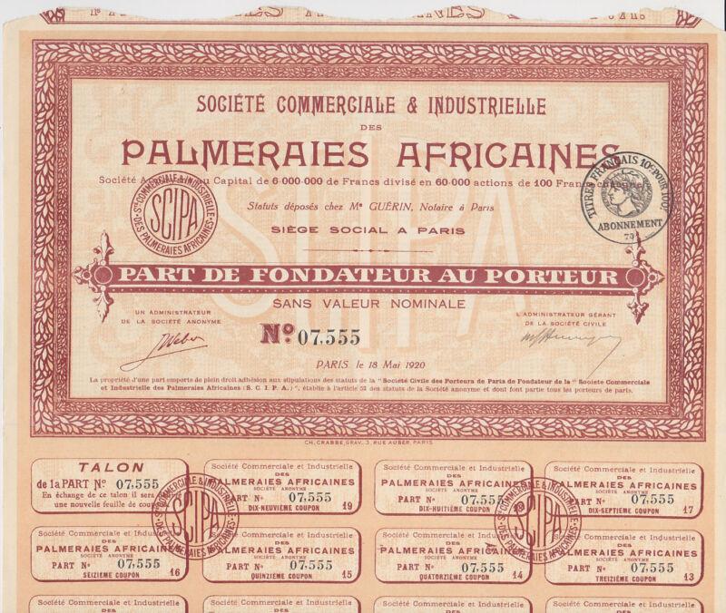 1920 Societe Commerciale et Industrielle Palmeraies Africaines Bond Paris Nice