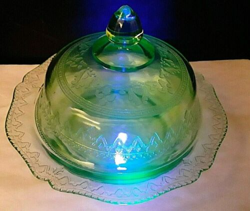 VTG FEDERAL GLASS PATRICIAN SPOKE GREEN DEPRESSION GLASS COVERED BUTTER DISH