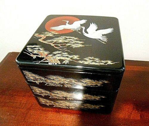 Japanese Lacquer Longevity Cranes Three Tier Stack Lunch Bento Box
