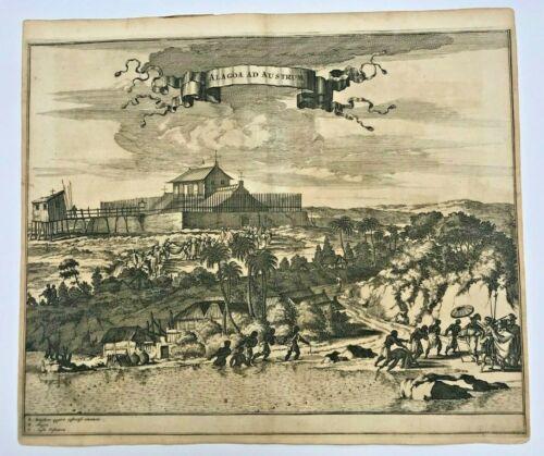 BRAZIL ALAGOA MACEIO 1673 Arnoldus MONTANUS UNUSUAL ANTIQUE VIEW 17TH CENTURY
