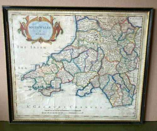 Antique Map of SOUTH WALES by Robert MORDEN Hand Coloured c.1695 Framed & Glazed
