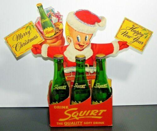Squirt Soda 1955 Carton Die Cut Litho Sign Christmas Little Sqirt Boy Chimney