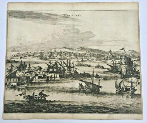 CARTHAGENE COLOMBIA 1673 Arnold MONTANUS RARE LARGE ANTIQUE VIEW 17TH CENTURY
