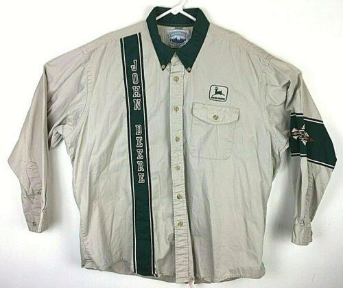 John Deere Tan Aztec Design Long Sleeve Button Down Shirt Size XL #A023