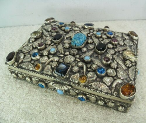 Egyptian Solid Silver Jewel & Stone Set Table Cigar Box, Cairo c1965