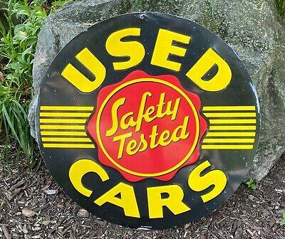 Vintage Safety Tested Used Cars for Sale Sign Embossed Garage Art