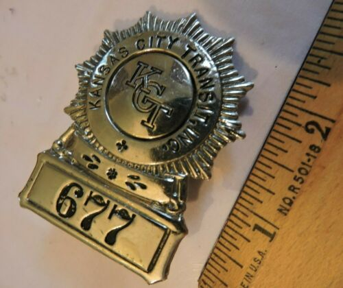 Rare 1930s Kansas City Transit Bus Trolley Badge KCT 677
