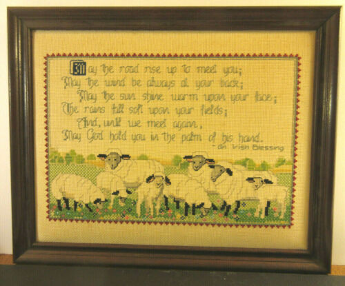 An Irish Blessing Completed Framed Counted Cross-Stitch Featuring Sheep