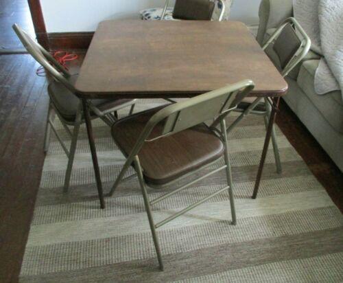 1980s Retro Samsonite Brown Padded Folding 4 Chairs & Card Table Set USA