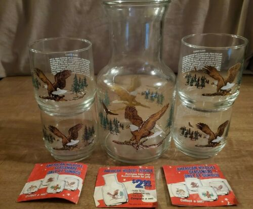 Pitcher & 4 Libby Sunoco Gas Endangered Wildlife Collector Vintage Glasses Eagle