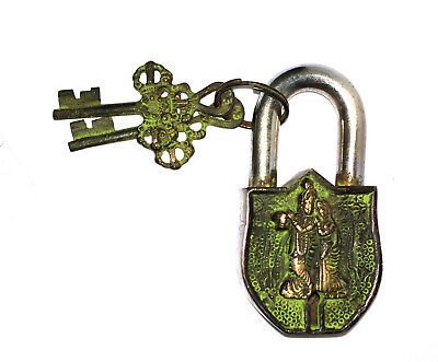 Antique Style Unique Brass made Radha Krishna Design Padlock with 2 Keys from IN