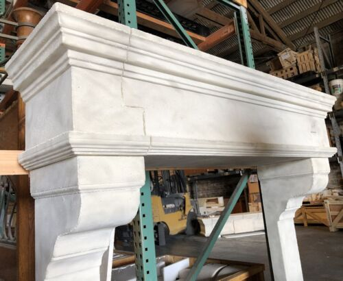 Cast Stone Fireplace Mantle – Authentic Rustic Old World Mantel - Limestone