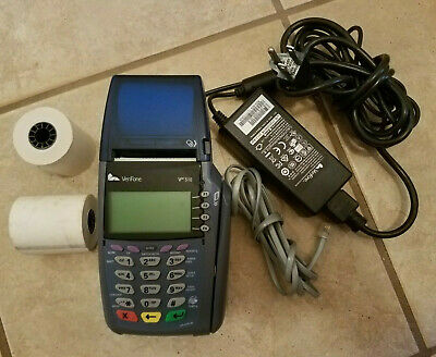 Verifone Omni 5100 Vx510 Credit Card Reader Terminal W Power Supply Cord Paper