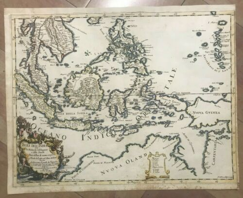 SOUTHEAST ASIA PHILIPPINES 1683 DE ROSSI-DA VIGNOLA LARGE UNUSUAL ANTIQUE MAP