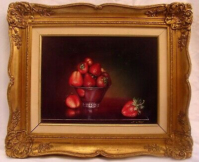 MAGNIFICENT O/B STILL LIFE PAINTING STRAWBERRIES BY T. AMIRY CALIFORNIA ARTIST
