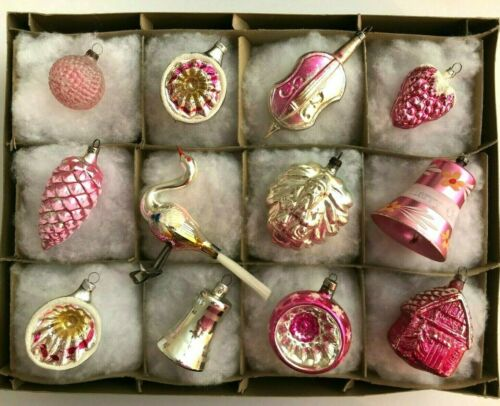 12 Antique Blown Silver Mercury Glass PINK Christmas Tree Ornaments 1930