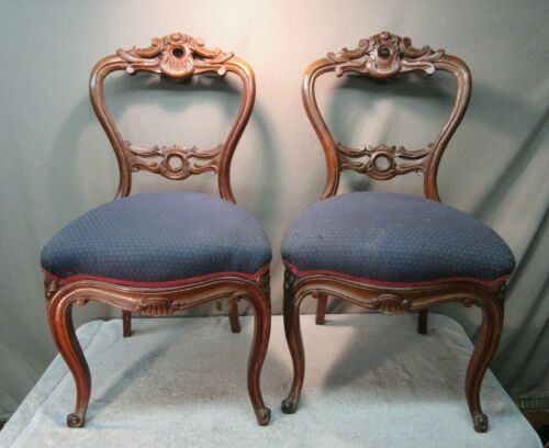 2 Antique Wood Parlor Chairs - carved open back balloon dining Rococo Victorian