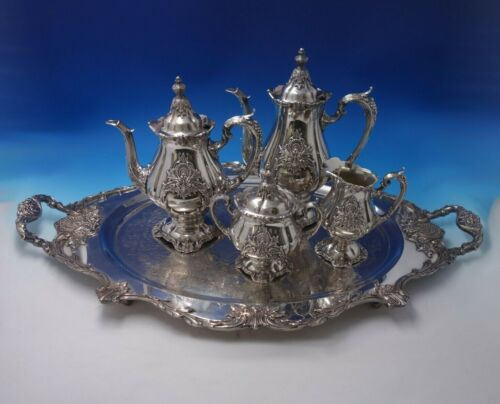 Sir Christopher by Wallace Sterling Silver Tea Set 4pc w/ Silverplate Tray #5138