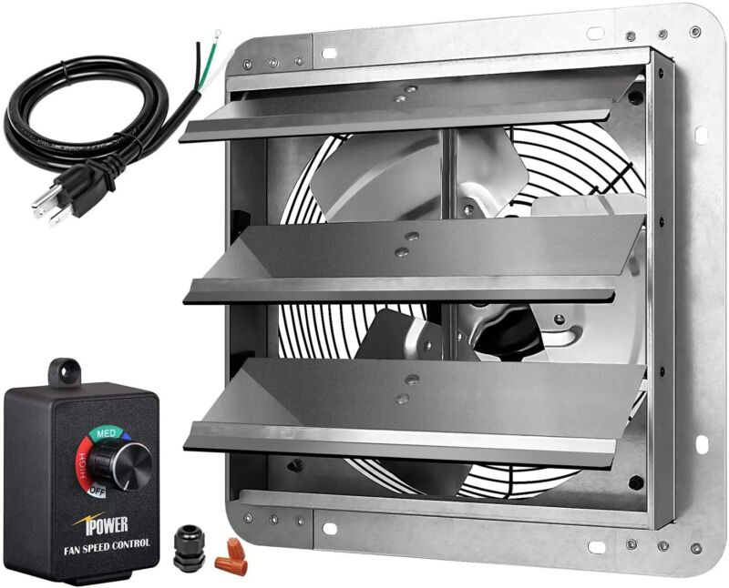 iPower 12Inch Variable Shutter Exhaust Fan Aluminum with Speed Controller