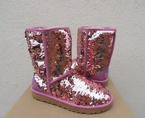 UGG CLASSIC SHORT PINK SPARKLE SEQUIN SHEEPWOOL BOOTS, WOMEN US 7/ EUR 38 ~ NEW