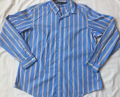 Mens RALPH LAUREN XL Multi Color Yellow Pink Blue Stripe Long Sleeve Pony Shirt