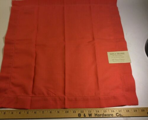Coral/hemstitch 20x20 Linen Dinner Napkin, set 4 New by Nina Home, Nina Campbell