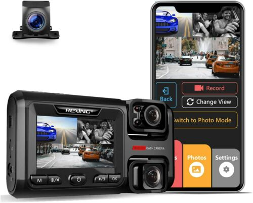 Rexing W303 3-Channel Front, Cabin, Rear Back up Triple Dash Cam 1080p+720p+720p