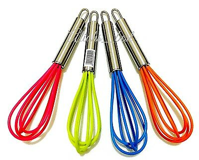 Chef Aid Mini Balloon Whisk Stainless Steel With Silicone Colourful Head - 15 cm