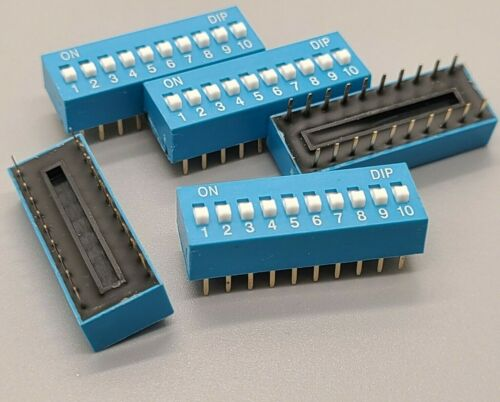 5 Pcs 10 Position Pin DIP Switch for arduino projects breadboard friendly