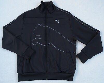 Puma Men's Polyester Blend L/S Full Zip Dark Navy Blue Logo Track Jacket - M