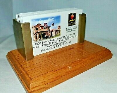 Vintage Business Card Holder Medium Oak Wood Brass Desk Accessory