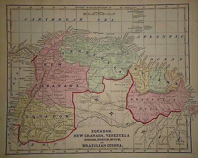 Antique 1856 Hand Colored VENEZUELA EQUADOR MAP Old Authentic Vintage Atlas Map