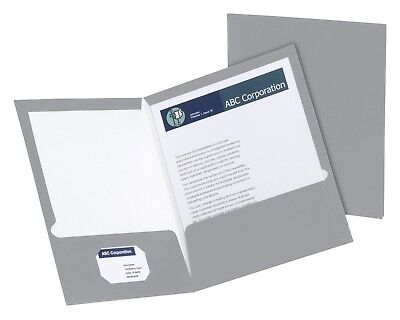 Oxford Laminated Pocket Folder Letter 11 X 8-12 Inches 2 Pockets Gray 25 Pack