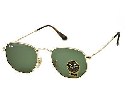 Ray-Ban RB3548N Hexagonal Flat Lenses 001 Gold Frame/Green Classic G-15 Lenses