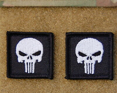 2 x Punisher Skull Mini GITD Glow In The Dark Morale Patch Hook Backing