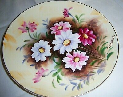 Two Decorative Art Pottery Hand Painted Floral Plates Wall Hanging Glaze Loss - $5.74
