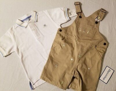 Boys Golf Short Set (NWT Hartstrings Size 4 Boys Overalls Shorts and Shirt Set White Khaki Golf  )