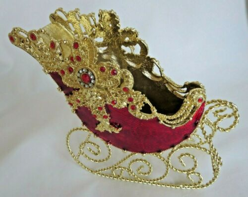 "7"" Jeweled Pewter Christmas Sleigh in Original Box MINT Vintage Dillard"